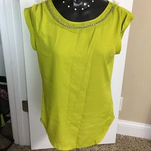 Chain embellished neckline chartreuse top